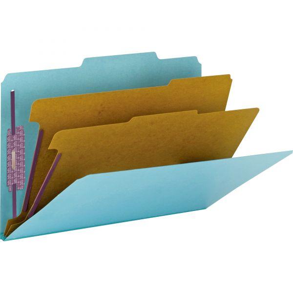 Smead 2-Divider Pressboard Classification Folders with SafeSHIELD Fasteners