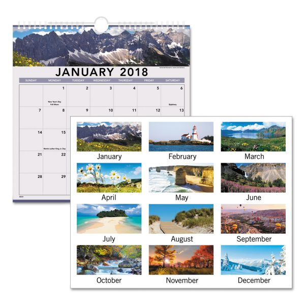 Visual Organizer Open Plan Landscape Scenes Monthly Wall Calendar