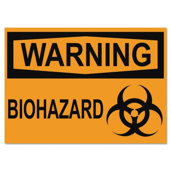 Headline Sign OSHA Safety Signs, WARNING BIOHAZARD, Orange/Black, 10 x 14