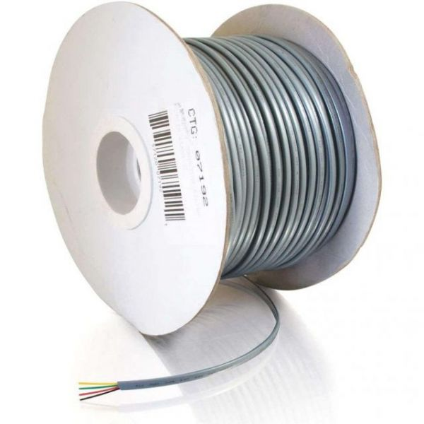 C2G 500ft 28 AWG 4-Conductor Silver Satin Modular Cable Reel