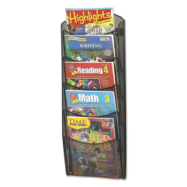Safco Onyx Mesh Literature Rack, Five Compartments, 10-1/4w x 3-1/2d x 28-1/3h, Black