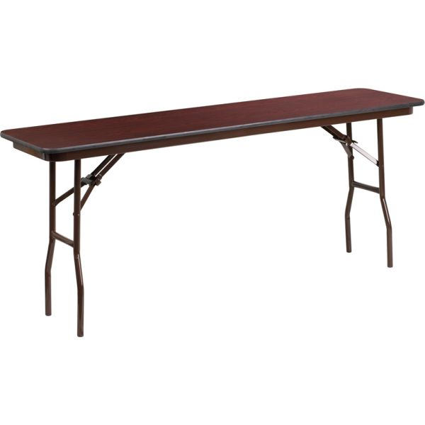 Flash Furniture 18'' x 72'' Rectangular High Pressure Mahogany Laminate Folding Training Table
