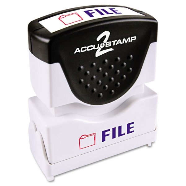ACCUSTAMP2 Pre-Inked Shutter Stamp, Red/Blue, FILE, 1 5/8 x 1/2