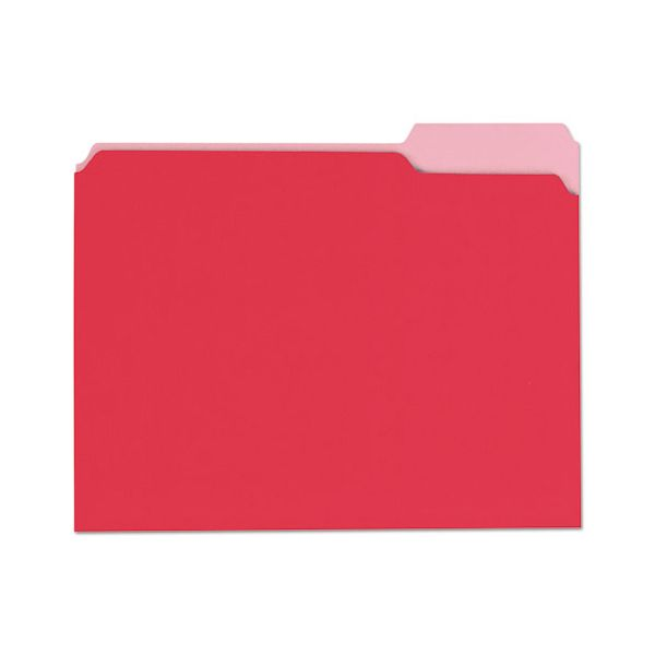 Universal File Folders, 1/3 Cut One-Ply Top Tab, Letter, Red/Light Red, 100/Box