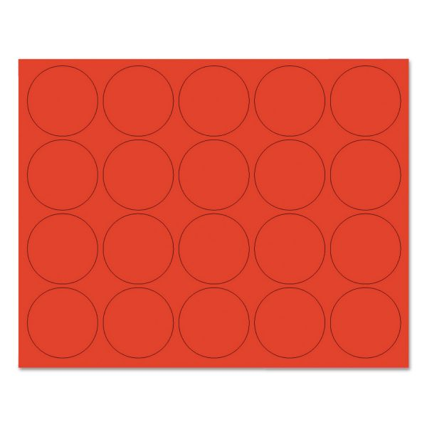 """MasterVision Interchangeable Magnetic Characters, Circles, Red, 3/4"""" Dia., 20/Pack"""