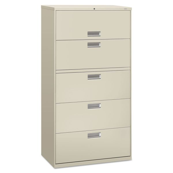 HON 600 Series Five-Drawer Lateral File, 36w x 19-1/4d, Light Gray