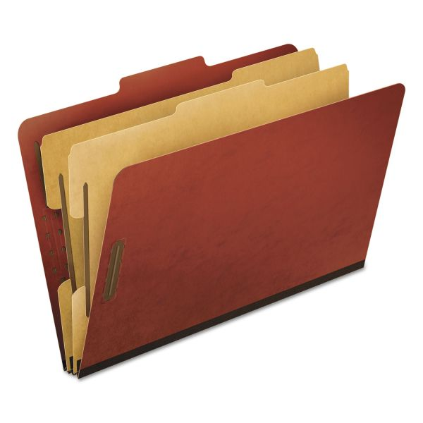 Pendaflex Six-Section Pressboard Folders, Legal, 2/5 Tab, Red, 10/Box