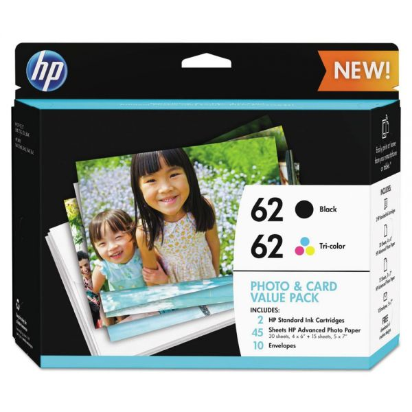 HP 62 Black/Tri-Color Original Ink Cartridges w/Photo Paper (K3W67AN)
