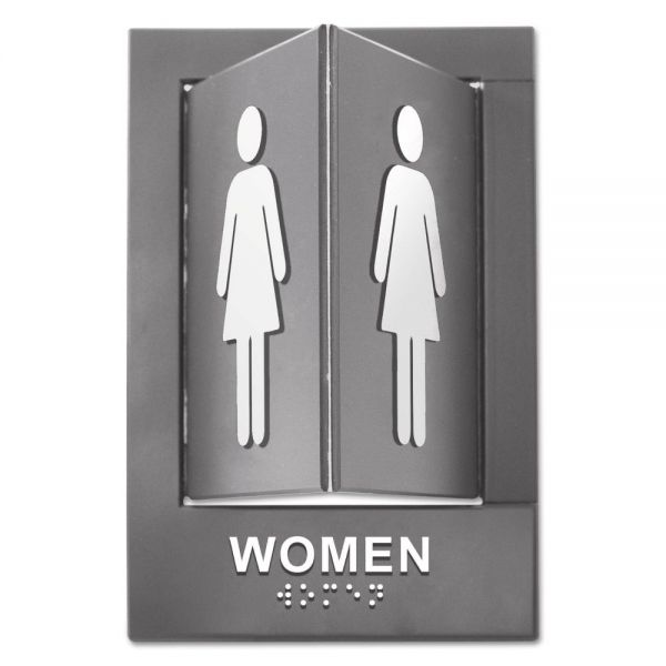 Advantus Pop-Out ADA Sign, Women, Tactile Symbol/Braille, Plastic, 6 x 9, Gray/White