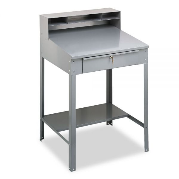 Tennsco Open Steel Shop Desk, 34-1/2w x 29d x 53-3/4h, Medium Gray
