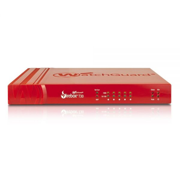 WatchGuard Firebox T30 - 620 Mbps Firewall, 150 Mbps VPN, 135 Mbps UTM; 5 Gb Ethernet interfaces, incl. 1 POE+, 1 serial, 2 USB; 40 BOVPN tunnels, 25 IPSec and SSL; 200,000 concurrent connections
