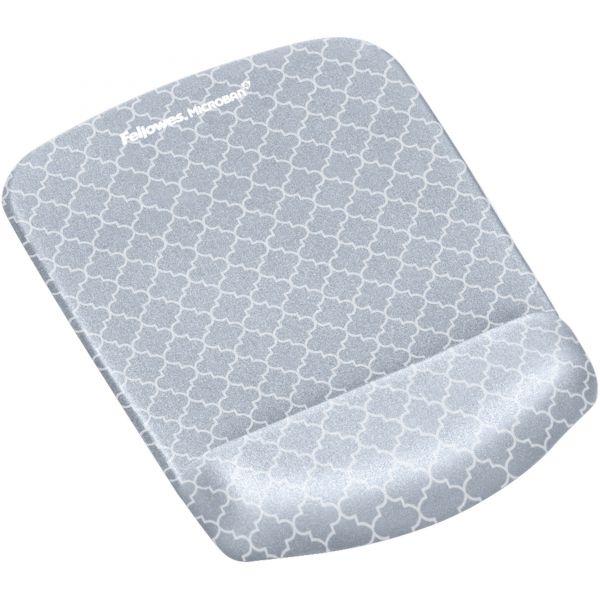 Fellowes PlushTouch Mouse Pad with Wrist Rest, 7 1/4 x 9 3/8 x 1, Gray/White Lattice