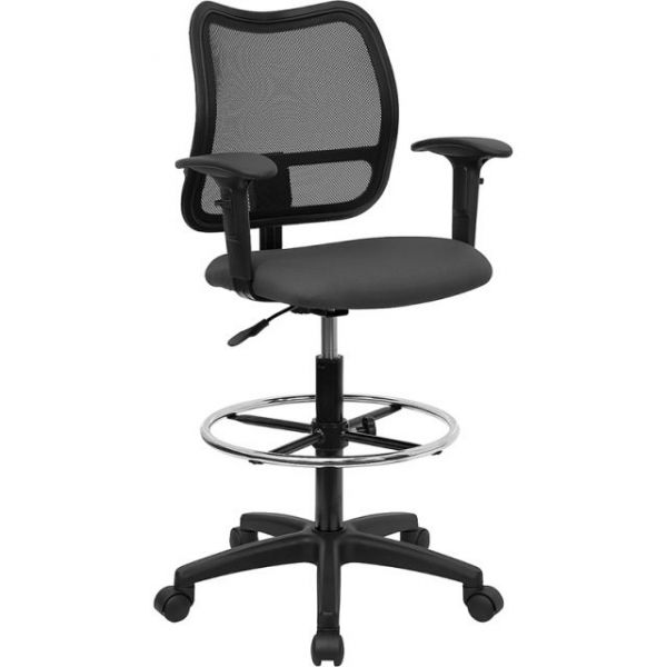 Flash Furniture Mid-Back Mesh Drafting Stool with Gray Fabric Seat and Arms