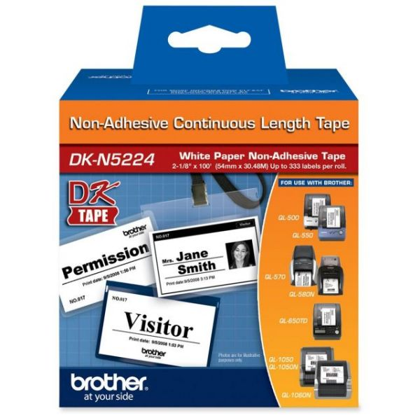 Brother DKN5224 - Black on White Non-Adhesive Continuous Length Paper Tape
