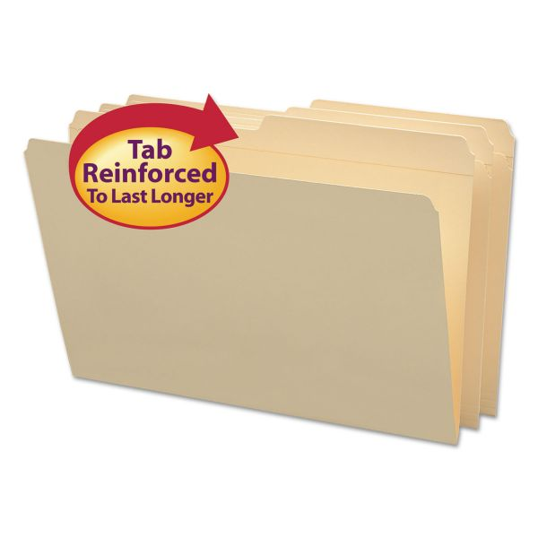 Smead File Folders, 1/2 Cut, Reinforced Top Tab, Legal, Manila, 100/Box