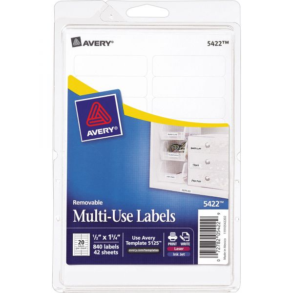 Avery Removable Multi-Use Labels, 1/2 x 1 3/4, White, 840/Pack