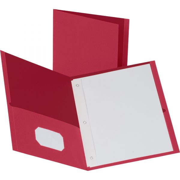 Business Source Red Two Pocket Folders with Fasteners