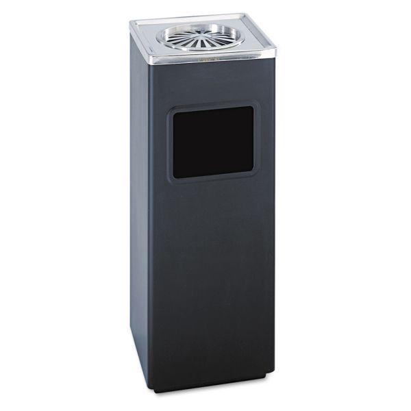 Safco Ash 'N Trash Sandless Urn, Square, Stainless Steel, 3gal, Black/Chrome