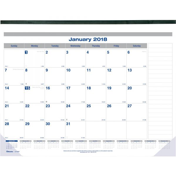 Blueline Net Zero Carbon Seal Monthly Desk Pad Calendar