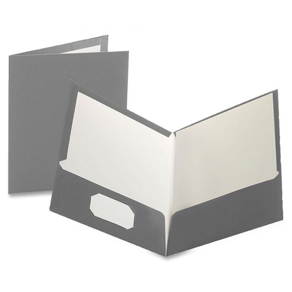 Oxford Laminated Gray Two Pocket Folders