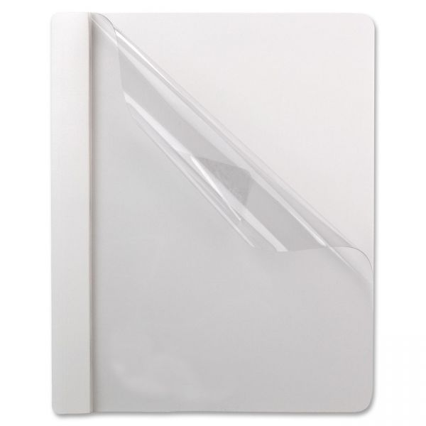 Oxford Premium Paper Clear Front Cover, 3 Fasteners, Letter, White, 25/Box