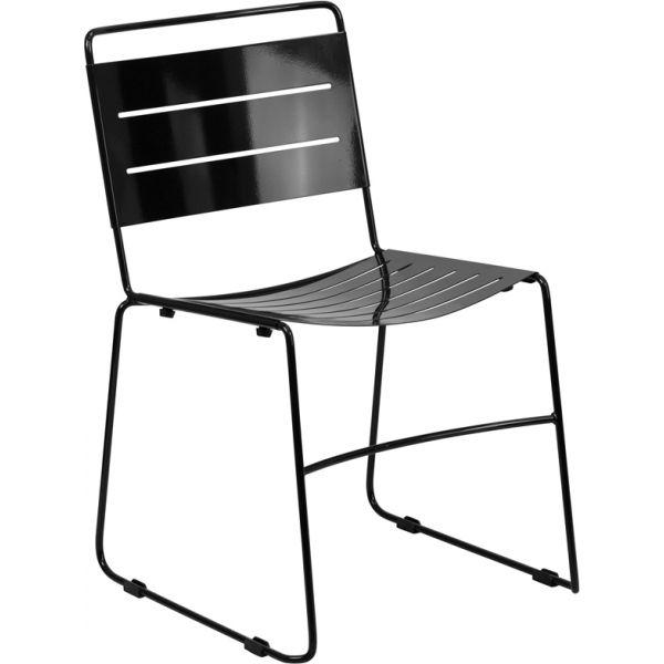 Flash Furniture HERCULES Series Black Indoor-Outdoor Metal Stack Chair