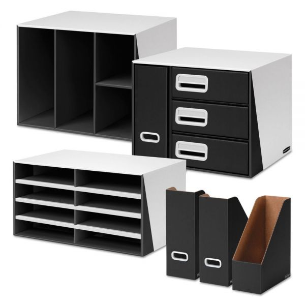 Bankers Box Premier Desktop Organization Kit, Six-Pieces, White/Black