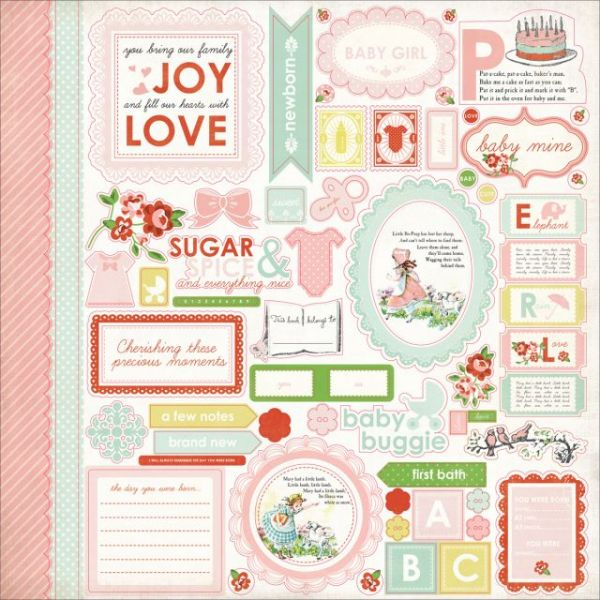 "Baby Mine Girl Cardstock Stickers 12""X12"""