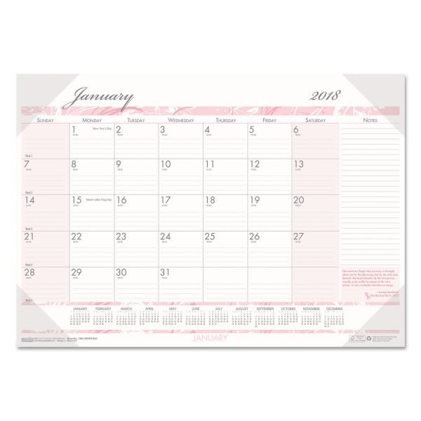 House of Doolittle Breast Cancer Awareness Monthly Desk Pad Calendar