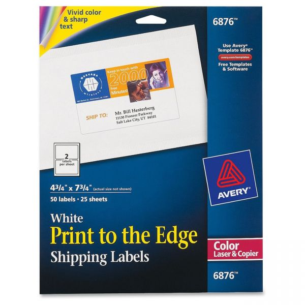 Avery Vibrant Color-Printing Shipping Labels, 4 3/4 x 7 3/4, White, 50/Pack