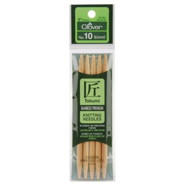 "Takumi Bamboo Double Point Knitting Needles 5"" 5/Pkg"