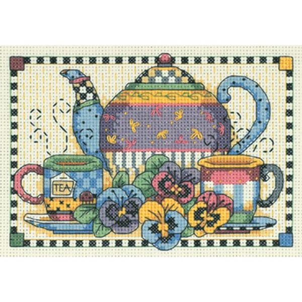 Teatime Pansies Mini Counted Cross Stitch Kit