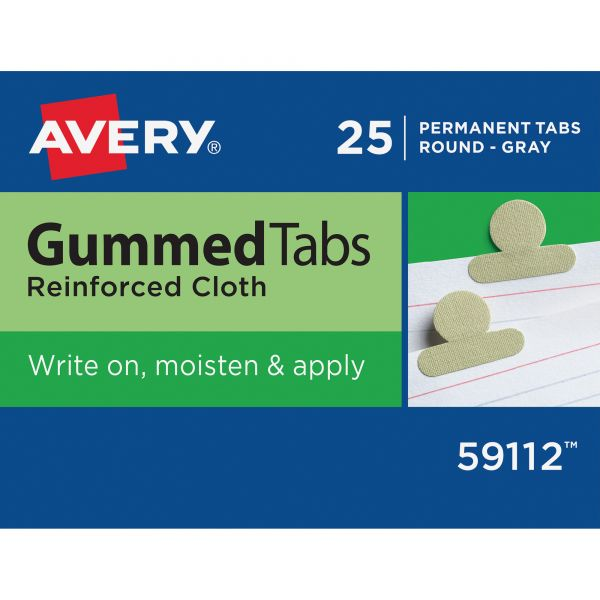 Avery Gummed Index Tabs, 1/2 in, Gray, 25/Pack