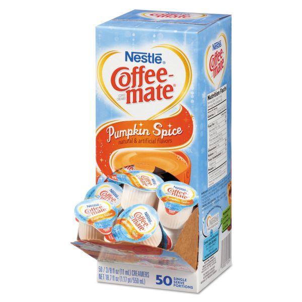 Coffee-mate Liquid Coffee Creamer, Pumpkin Spice, 0.375 oz Mini Cups, 50/Box