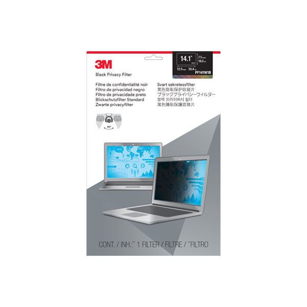 """3M PF14.1W Privacy Filter for Widescreen Laptop 14.1"""" Gray"""
