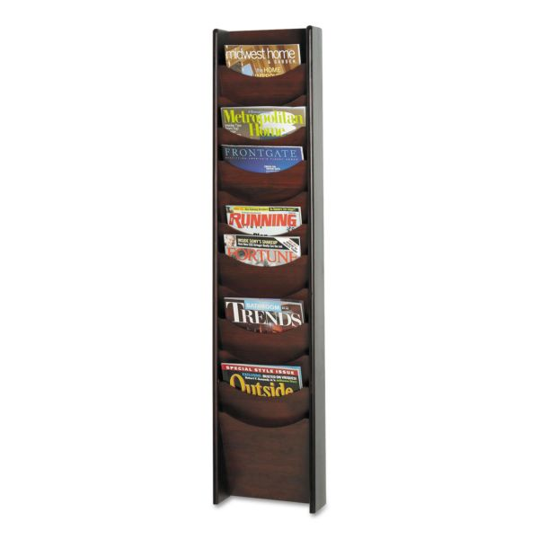 Safco Solid Wood Wall-Mount Literature Display Rack, 11-1/4w x 3-3/4d x 48h, Mahogany