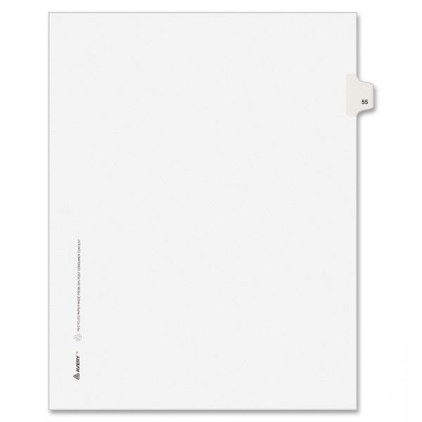 Avery-Style Legal Exhibit Side Tab Divider, Title: 55, Letter, White, 25/Pack