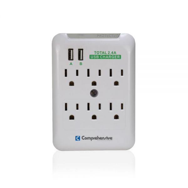 Comprehensive Wall Mount 6-Port Surge Outlet
