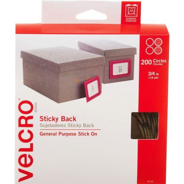 """Velcro Sticky-Back Hook & Loop Dot Fasteners w/Dispenser, 3/4"""" dia, Beige, 200 per Roll"""
