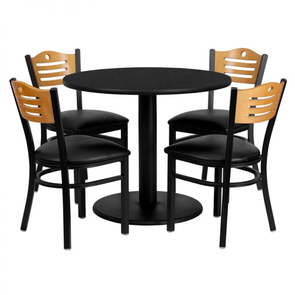 Flash Furniture 36'' Round Black Laminate Table Set with 4 Wood Slat Back Metal Chairs - Black Vinyl Seat