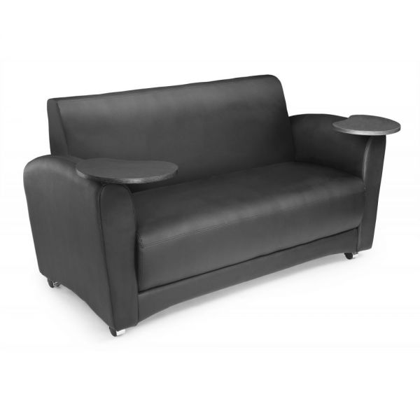 OFM OFM InterPlay Series Upholstered Guest / Reception Sofa, Black, Tungsten Tablet