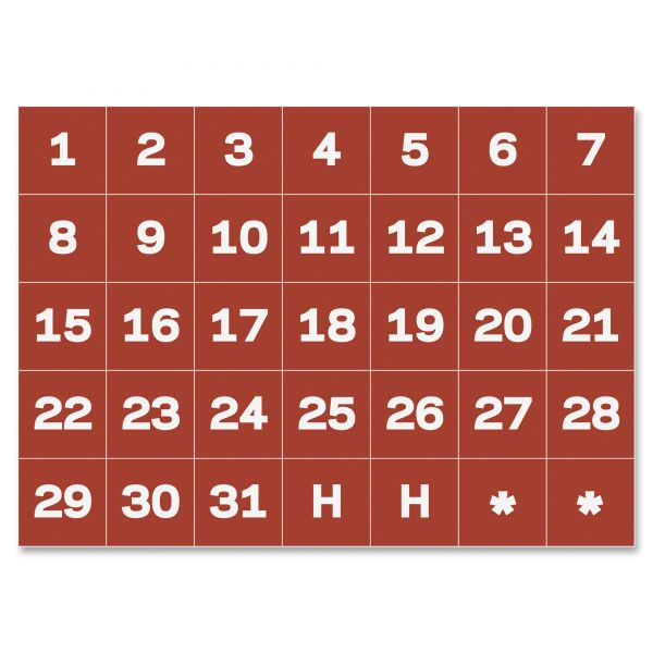"MasterVision Calendar Magnetic Tape, Calendar Dates, Red/White, 1"" x 1"""