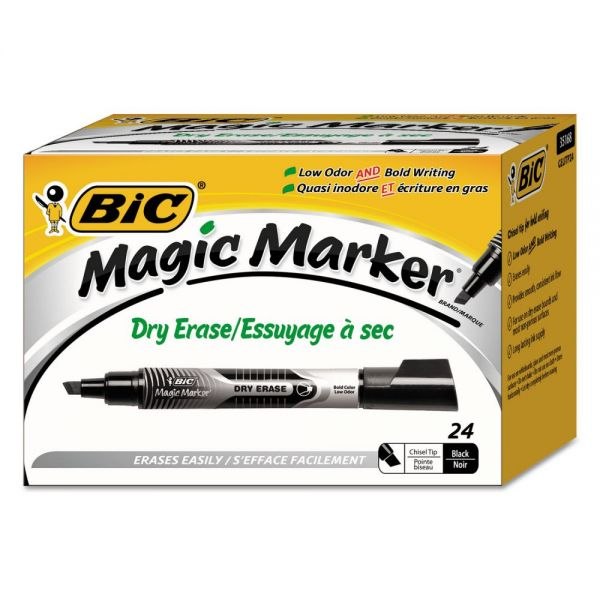 BIC Low Odor and Bold Writing Dry Erase Marker, Chisel Tip, Black, 24/Pack