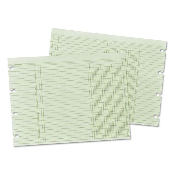 Wilson Jones Accounting Sheets, 3 Cols, 9-1/4 x 11-7/8 , GN, 100 Loose Sheets/pk
