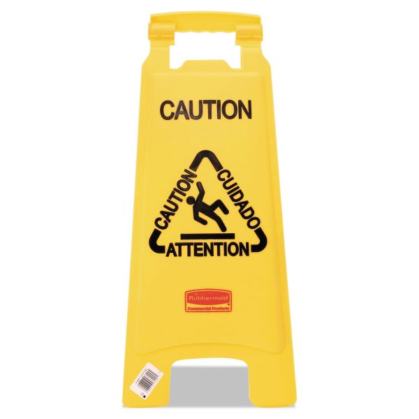 "Rubbermaid Double-Sided ""Caution/Cuidado/Attention"" Foldable Floor Sign"