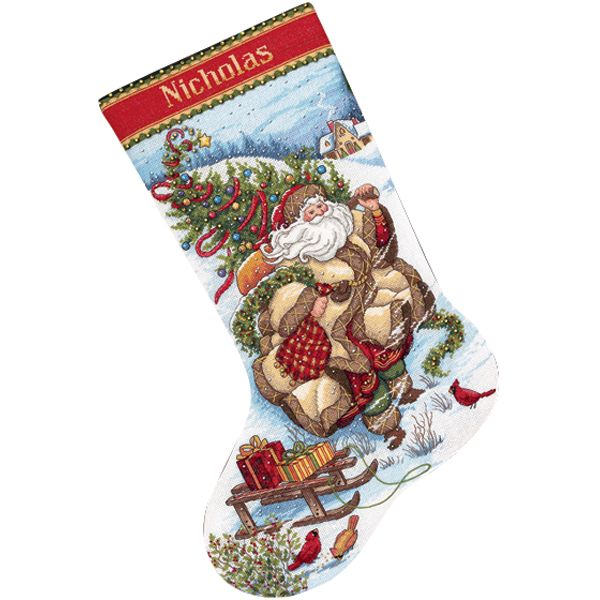 Dimensions Gold Collection Santa's Journey Stocking Counted Cross Stitch Kit