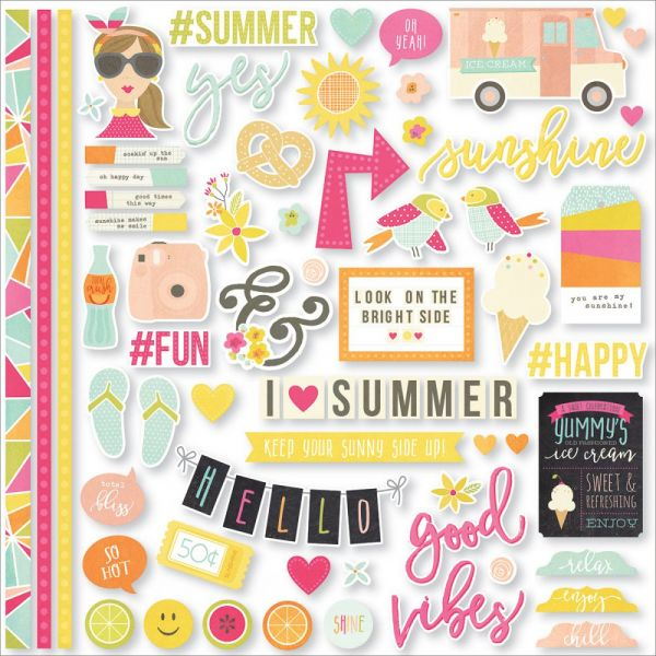 "Sunshine & Happiness Cardstock Stickers 12""X12"""