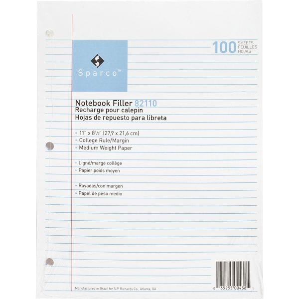 Sparco College Ruled Loose Leaf Paper