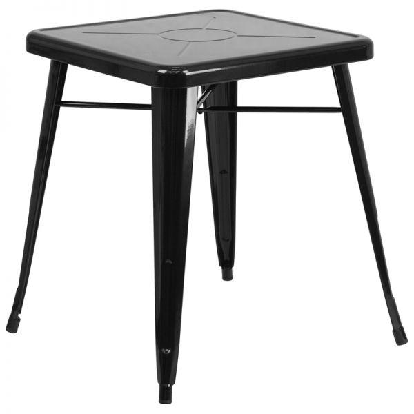 Flash Furniture 23.75'' Square Black Metal Indoor-Outdoor Table