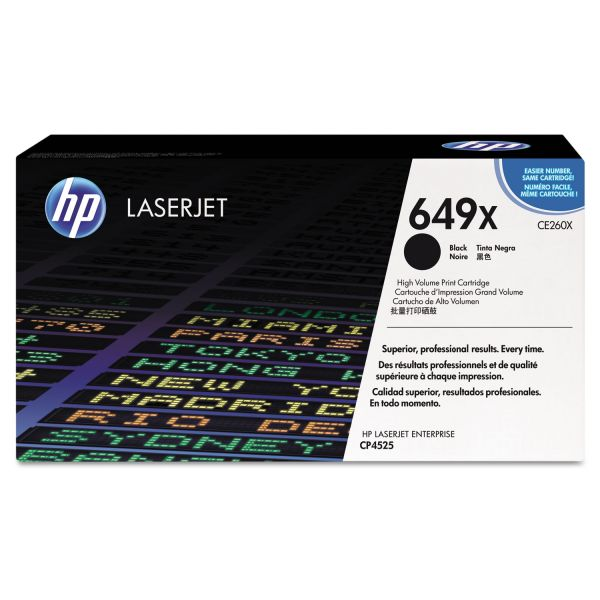 HP 649X, (CE260X) High Yield Black Original LaserJet Toner Cartridge